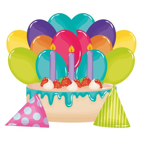delicious sweet cake with strawberries and candles , balloons helium