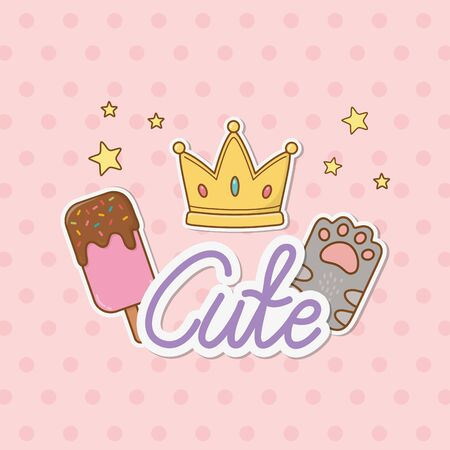 crown, ice cream and cat paw stickers style