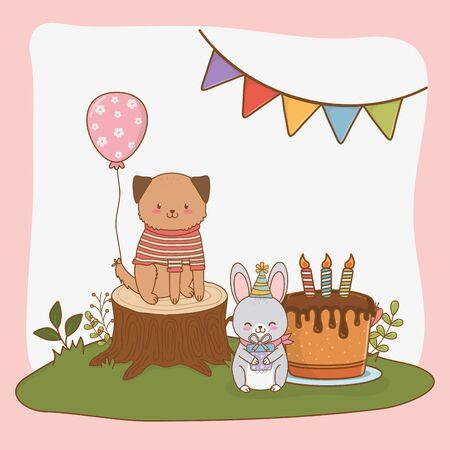 birthday card with cute animals woodland vector illustration design Foto de archivo - 129225103