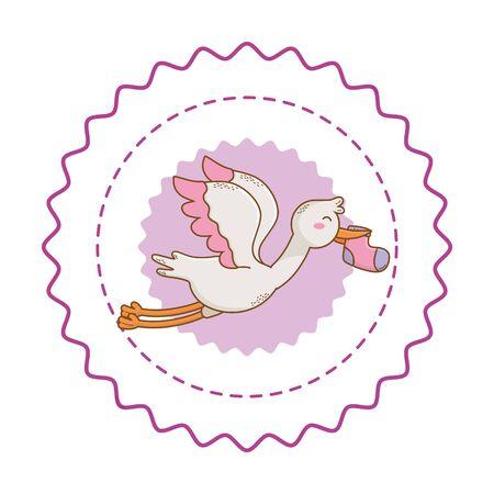 Baby shower round label stamp with cartoons Standard-Bild - 129236559