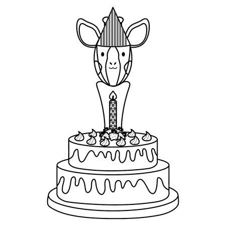 cute giraffe with sweet cake in birthday party Foto de archivo - 129236564