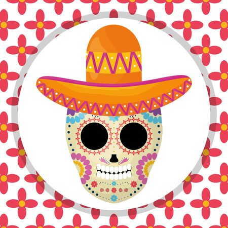 mexican skull death mask with mariachi hat in floral background