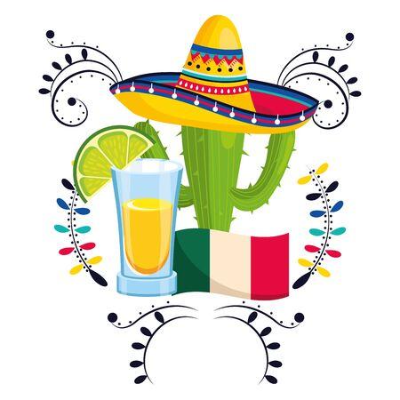 mexican culture festival cactus with mexican mariachi elements cartoon vector illustration graphic design Фото со стока - 129224549