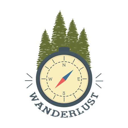 wanderlust label with forest scene and compass vector illustration design