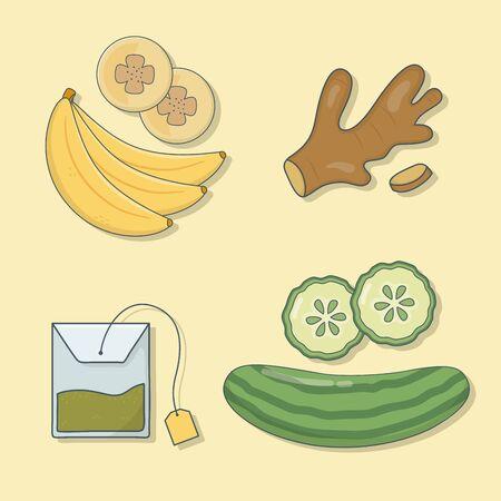 healthy preparation set icons