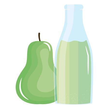 fresh pear juice fruit in botttle