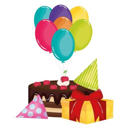 gift box with sweet cake and balloons helium floating Stok Fotoğraf - 129372790