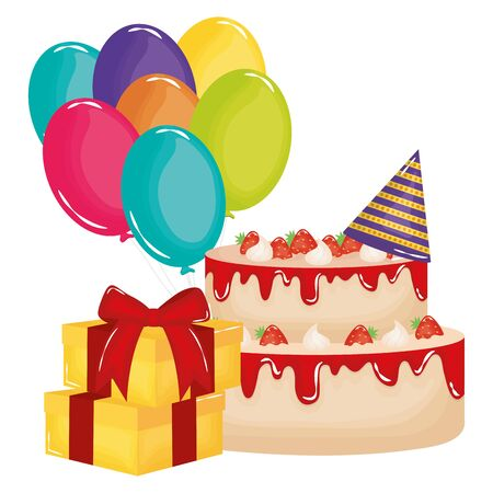 gift box with sweet cake and balloons helium floating Stok Fotoğraf - 129372788