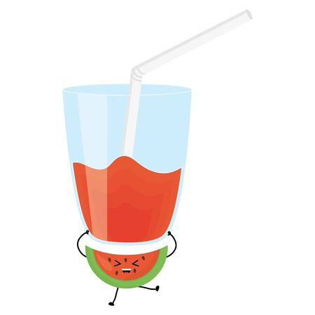 glass with juice watermelon fresh fruit character vector illustration design