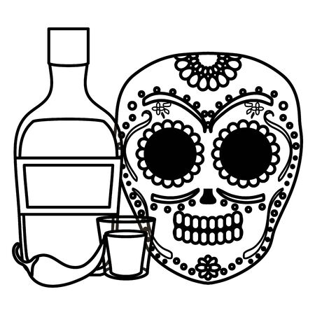 mexican skull death mask with tequila bottle