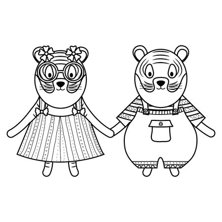 cute tigers couple childish characters