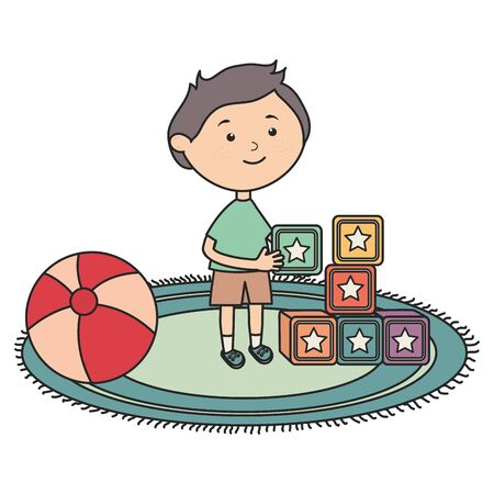 cute little boy with ball plastic and blocks Çizim