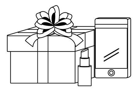 Smartphone and gift design, Store shopping online ecommerce media market and internet theme Vector illustration Ilustracja