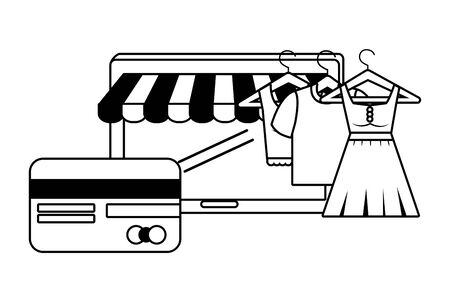 Tablet design, Store shopping online ecommerce media market and internet theme Vector illustration Ilustracja