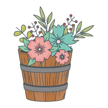 floral nature flowers inside wooden plant pot cartoon vector illustration graphic design Standard-Bild - 129251883