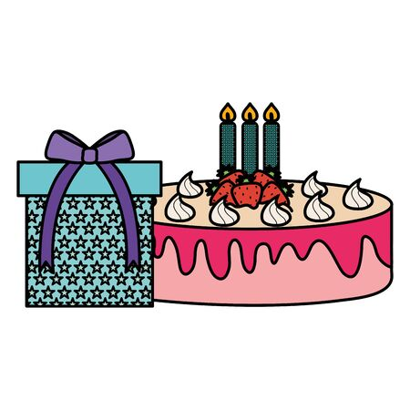 gift box present with sweet cake vector illustration design Stockfoto - 129251797