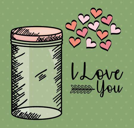 jar glass with hearts draw