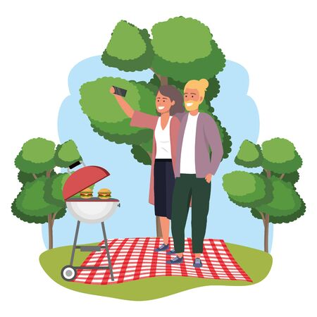 Millennial couple date picnic background frame Stok Fotoğraf - 129373639