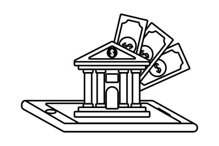 Digital banking services online tools smartphone black and white