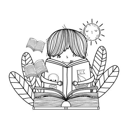 happy little boy reading book in the garden Reklamní fotografie - 129375732
