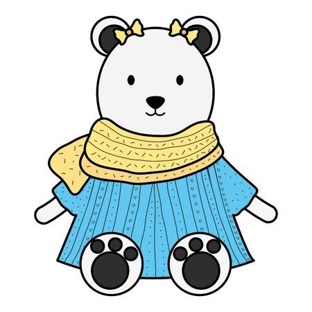 cute female polar bear childish character Ilustração