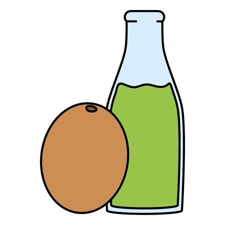 fresh juice kiwi fruit in botttle