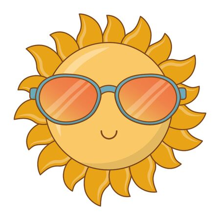 happy sun cartoon with sunglasses flat style isolated vector illustration editable design Ilustrace