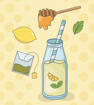 honey and lemon tea bottle with straw