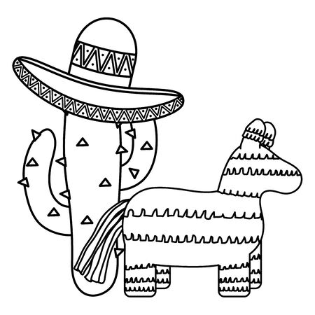 mexican pinata with cactus and hat