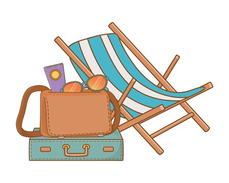 summer time and travel cartoon Ilustrace