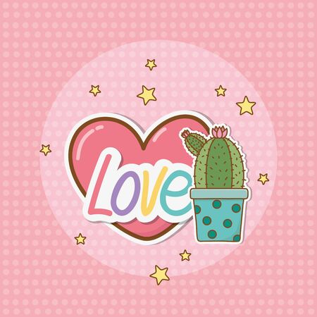 cactus sticker style Ilustrace