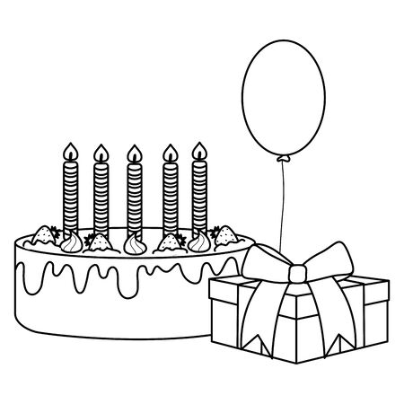 gift box with sweet cake and balloon helium floating