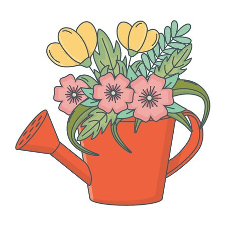floral nature flowers cartoon Banco de Imagens - 129376351
