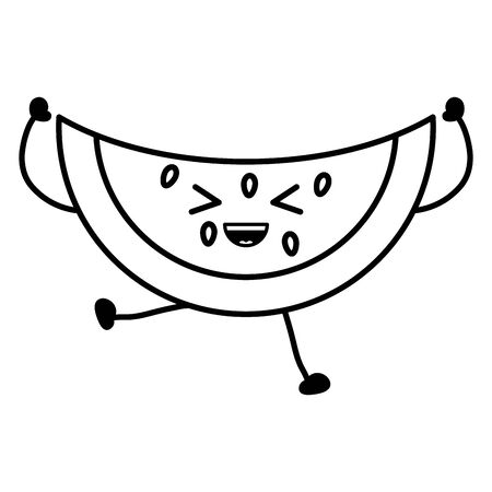 delicious watermelon fruit character Ilustrace
