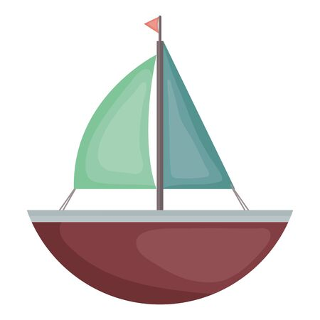 sailboat toy entertainment icon square frame and birthday elements vector illustration Çizim