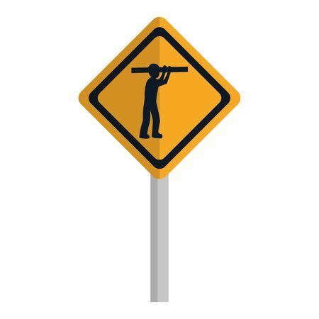 diamond caution emblem and laborer with equipment Ilustrace
