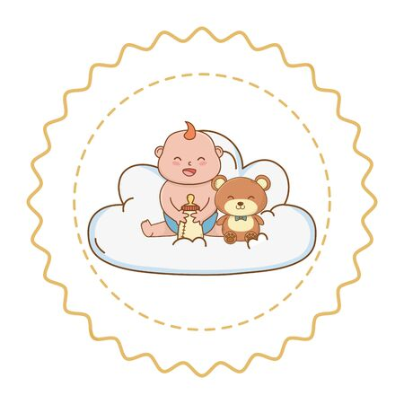 Baby shower baby holding bottle with teddy on clouds cartoons in round label stamp vector illustration graphic design