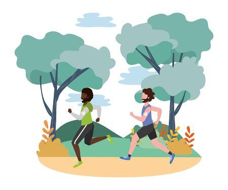 fitness sport train men running at outdoor scene cartoon vector illustration graphic design Ilustracja