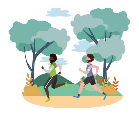 fitness sport train men running at outdoor scene cartoon vector illustration graphic design Illustration