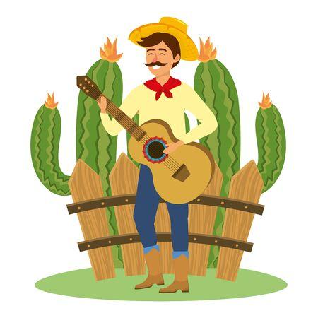 festa junina brazil party festival june celebration man with traditional elements cartoon vector illustration graphic design Illustration