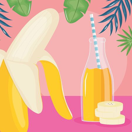 fresh banana slices juice fruit in botttle with straw in leafs palms Иллюстрация