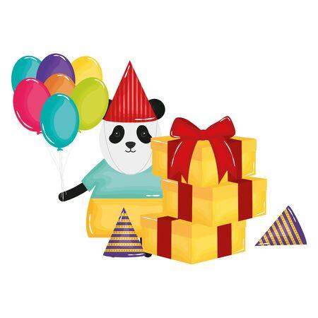 cute bear panda in birthday party