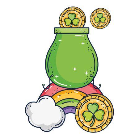 treasure cauldron with rainbow saint patrick day 일러스트