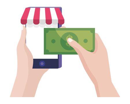 Shopping online icon design