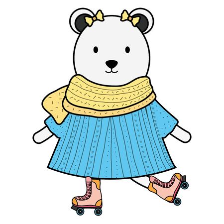 cute female polar bear in skates