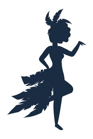 girl celebrating carnival silhouette Foto de archivo - 129377008