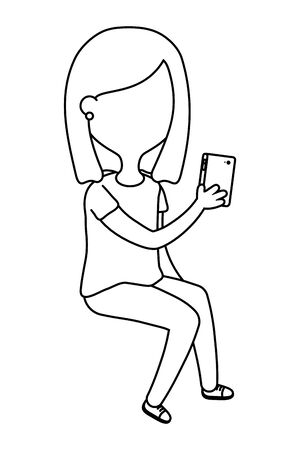 Girl and smartphone design