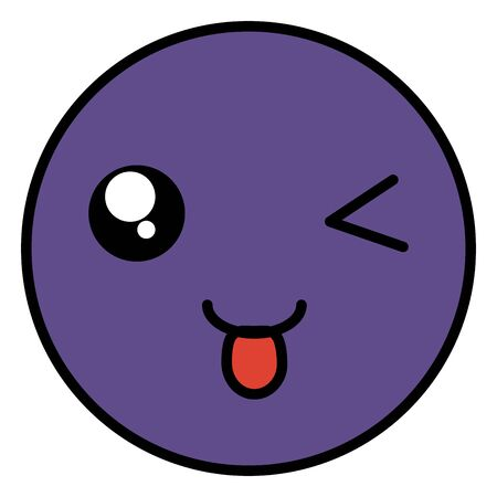 crazy face emoticon with tongue 일러스트