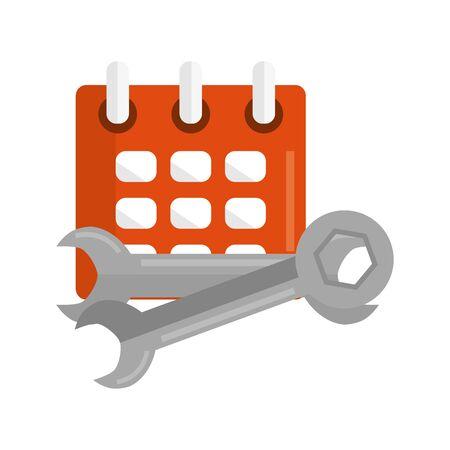 calendar reminder with wrench keys Ilustrace