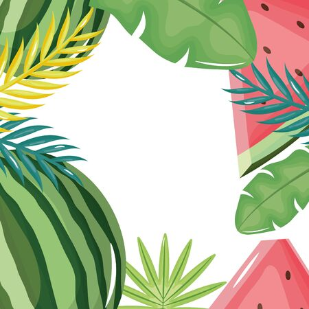 fresh watermelon and leafs palm frame Ilustrace